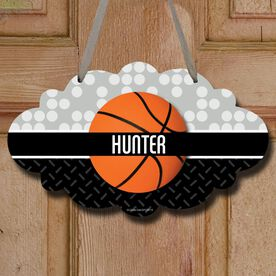 Basketball Cloud Room Sign Personalized 2 Tier Patterns with Basketball