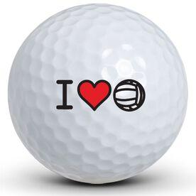 I Heart VolleyBall Golf Balls