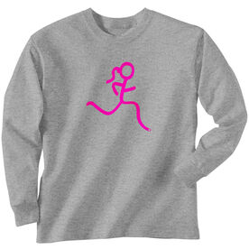 Youth T-Shirt Long Sleeve Run Girl Stick Figure Pink