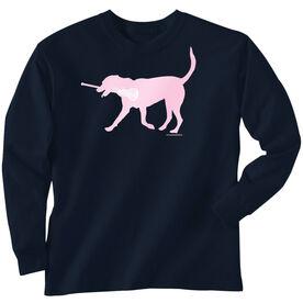 Girls Lacrosse Long Sleeve T-Shirt - LuLa The Lax Dog(Pink)