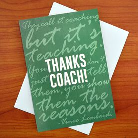 THANKS COACH - MySPORT Card (Green Lombardi Quote)