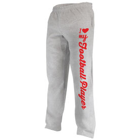 Football Fleece Sweatpants I Heart My Football Player