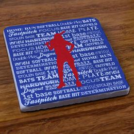 Softball Words - Stone Coaster