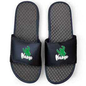 Snowboarding Navy Slide Sandals - High Altitude with Name