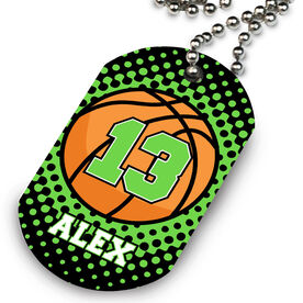 Basketball Printed Dog Tag Necklace Personalized Basketball with Dots