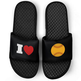 Softball Black Slide Sandals - I Heart Softball