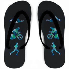 Triathlon Flip Flops Geometric Swim Bike Run Male Silhouettes