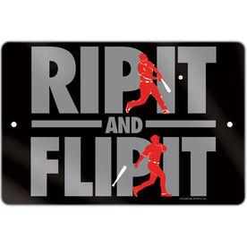 "Baseball Aluminum Room Sign (18""x12"") Rip It Flip It"