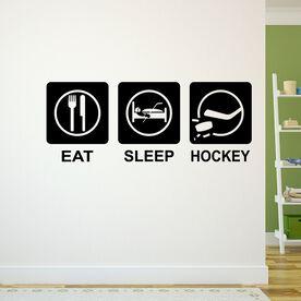 Eat Sleep Hockey Removable ChalkTalkGraphix Wall Decal