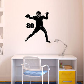 Personalized Football Quarterback Silhouette Removable ChalkTalkGraphix Wall Decal