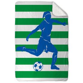 Soccer Sherpa Fleece Blanket Stripes with Player Girl