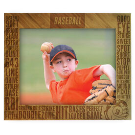 Baseball Bamboo Engraved Picture Frame Baseball Words