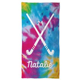 Field Hockey Beach Towel Personalized Tie Dye Pattern with Sticks