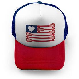Girls Lacrosse Trucker Hat - Lacrosse Flag with Heart