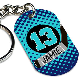 Hockey Printed Dog Tag Keychain Personalized Puck and Stick with Dots