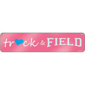 "Track & Field Aluminum Room Sign Heart Track and Field (4""x18"")"