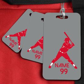 Baseball Bag/Luggage Tag Batter Silhouette Name and Number