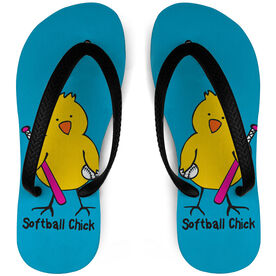 Softball Flip Flops Chick