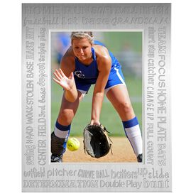 Engraved Softball Frame Silver 5 x 7 with Words