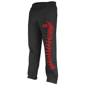 Softball Fleece Sweatpants Softball Stitches With Number