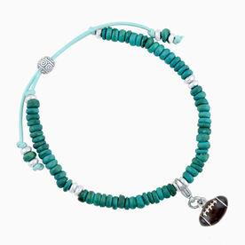 Natural SportBEAD Adjustable Bracelet - Enamel Football Charm