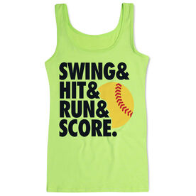 Softball Women's Athletic Tank Top Swing & Hit & Run & Score
