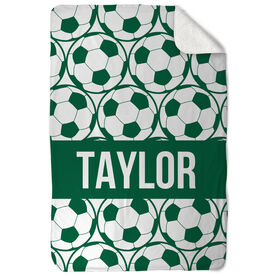 Soccer Sherpa Fleece Blanket Personalized Side By Side Ball Pattern
