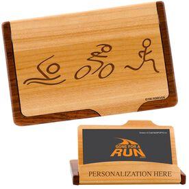 Swim, Bike, Run Figures Maple Business Card/Credit Card Holder