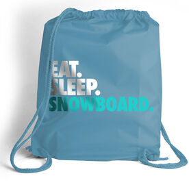 Skiing & Snowboarding Sport Pack Cinch Sack Eat. Sleep. Snowboard.
