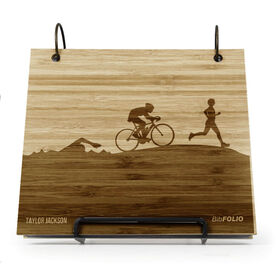 Engraved Bamboo Wood BibFOLIO Triathlon