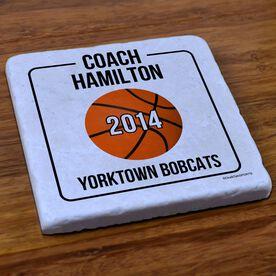 Basketball Stone Coaster Personalized Basketball Coach Box