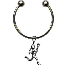 Silver Lacrosse Girl (Stick Figure) Keychain