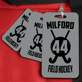 Field Hockey Bag/Luggage Tag Personalized Crossed Sticks with Number and Team Name