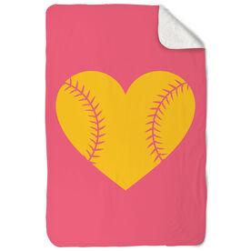 Softball Sherpa Fleece Blanket Stitched Heart