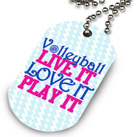 Volleyball Printed Dog Tag Necklace Volleyball Live It Love It Play It