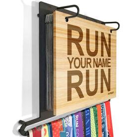 Engraved Bamboo BibFOLIO Plus Race Bib and Medal Display Run Your Name Run