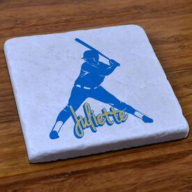 Softball Stone Coaster Personalized Softball Batter