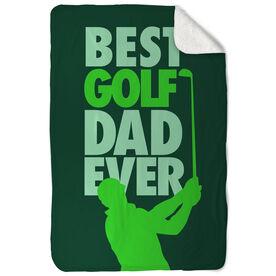 Golf Sherpa Fleece Blanket Best Dad Ever