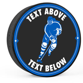 Personalized Female Player Skating Hockey Puck