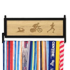TriathletesWALL Engraved Bamboo Medal Display Swim Bike Run Figures