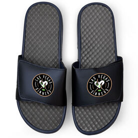Navy Slide Sandals - Las Vegas Sinners Logo