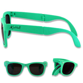 Foldable Softball Sunglasses Softball Pitcher Silhouette