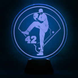 Baseball Acrylic LED Lamp Pitcher With Number