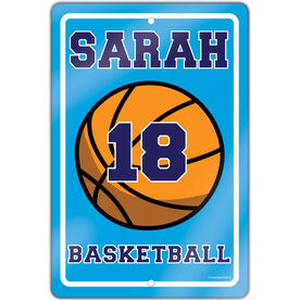 "Basketball Aluminum Room Sign Girl Personalized Basketball (18"" X 12"")"