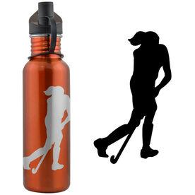 Field Hockey Player Silhouette 24 oz Stainless Steel Water Bottle