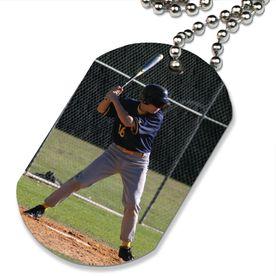 Custom Baseball Photo Printed Dog Tag Necklace