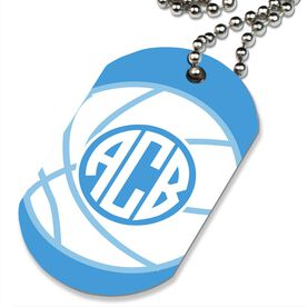 Basketball Printed Dog Tag Necklace Monogrammed Basketball