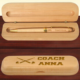 Personalized Field Hockey Coach Wood Pen and Case