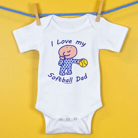 Softball Baby One-Piece I Love My Softball Dad