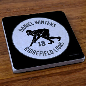 Football Stone Coaster Personalized Football Team with Linebacker Silhouette